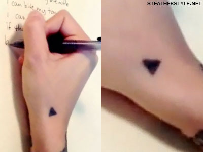 Christina Perri triangle hand tattoo