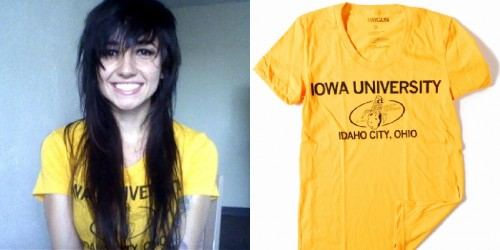 Lights wears the Iowa University T-shirt by Raygun