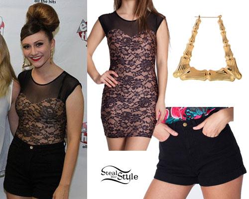 Amy Heidemann: Lace Top, Black Shorts, Bamboo Earrings