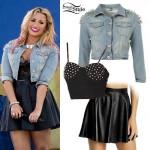 Demi Lovato: Studded Denim Jacket Outfit