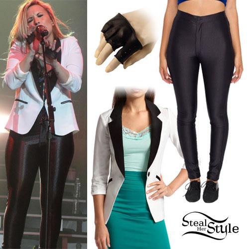 Demi Lovato: Disco Pants, Tuxedo Blazer