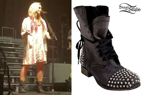 94f44d998e9 Demi Lovato: Studded Combat Boots   Steal Her Style