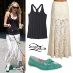 Miley Cyrus: Lace Maxi Skirt Outfit