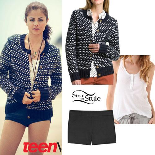 Selena Gomez: Heart Cardigan Outfit