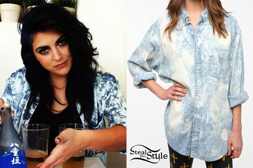 Sierra Kusterbeck: Bleached Denim Shirt