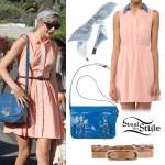 Taylor Swift: Peach Shirtdress Outfit