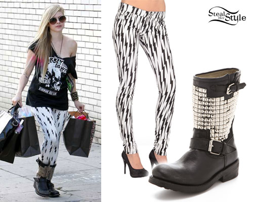 Avril Lavigne: Studded Motorcycle Boots