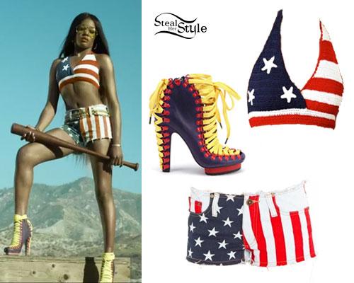 Azealia Banks: Licorice American Flag Outfit