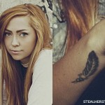 Brandi Cyrus feather wrist tattoo
