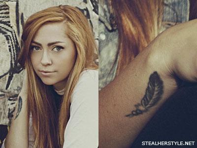 Brandi Cyrus feather wrist tattoo