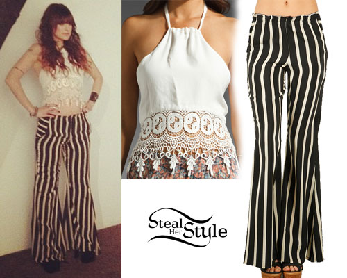 Juliet Simms: Stripe Bell Bottom Pants