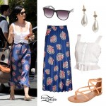 Katy Perry: Fan Print Skirt Outfit