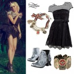 Kerli: Striped Dress, Silver Boots Outfit