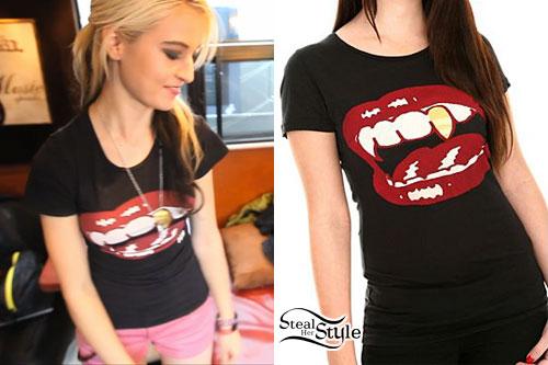 Miranda Miller: Golden Fang T-Shirt, Pink Shorts