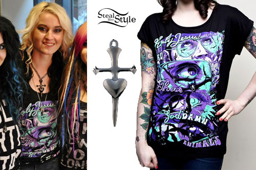 Miranda Miller: Bat Country Tee, Dagger Necklace