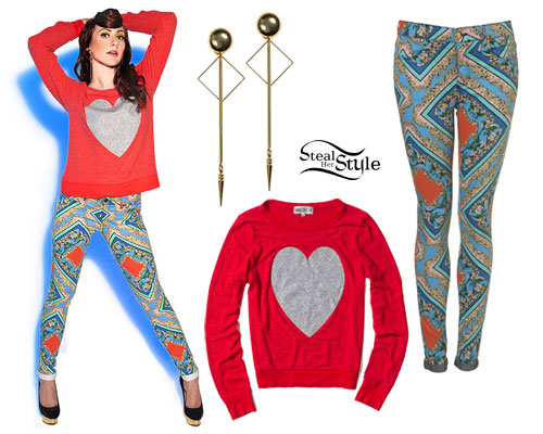 Amy Heidemann: Heart Sweater, Print Jeans