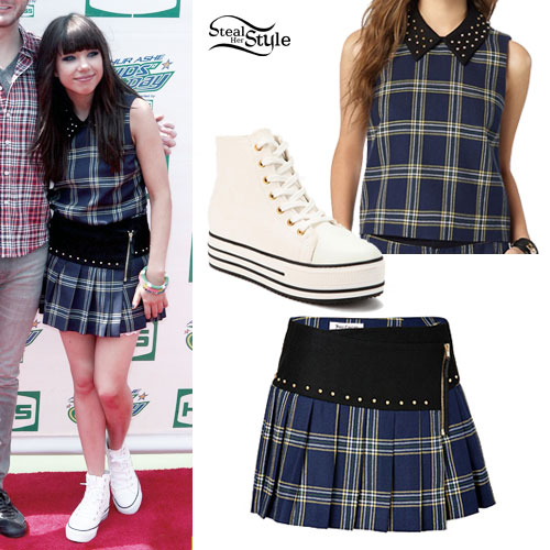 Carly Rae Jepsen: Plaid Top & Skirt