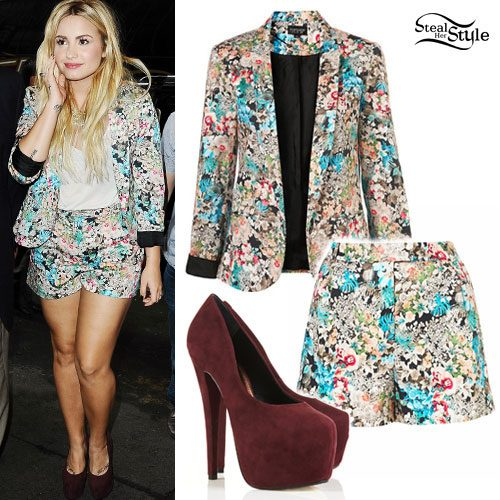 Demi Lovato: Floral Blazer, Shorts