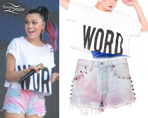 Jessie J: WORD Crop Top, Tie Dye Denim Shorts