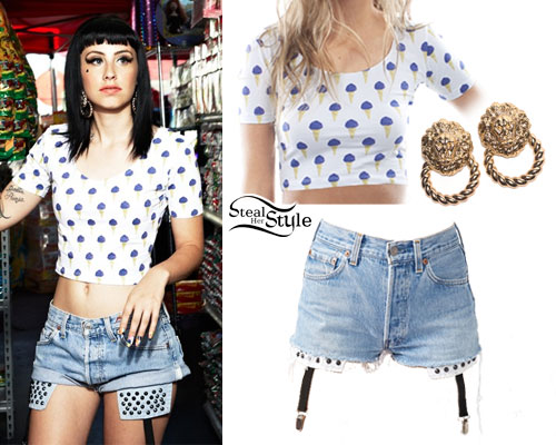 Kreayshawn: Ice Cream Tee, Denim Shorts