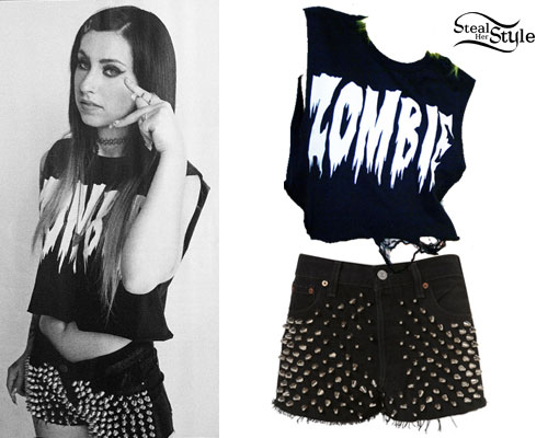 Kreayshawn: Zombie Tee, Black Spiked Shorts
