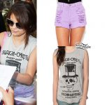 Selena Gomez: Purple Shorts Outfit