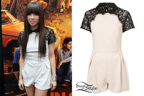 Carly Rae Jepsen: Lace Sleeve Playsuit