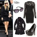 Demi Lovato: Black Lace Dress Outfit