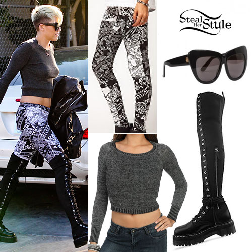 Amazing Miley Cyrus Paisley Leggings Outfit Steal Her Style Hairstyles For Men Maxibearus