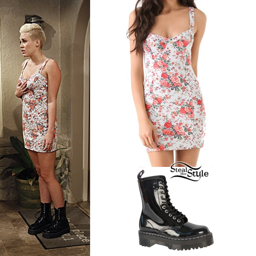 tani 100% autentyczny amazonka Miley Cyrus: Floral Dress, Black Boots | Steal Her Style