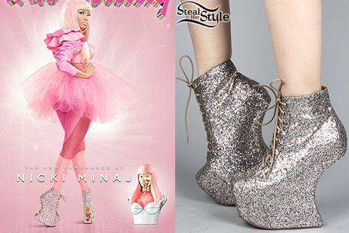 Nicki Minaj Heel Less Glitter Boots Steal Her Style