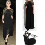 Perrie Edwards: Embellished Gown, Black Wedges