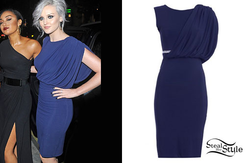 Perrie Edwards: Blue Draped Dress