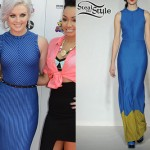 Perrie Edwards: Blue And Yellow Zig Zag Dress