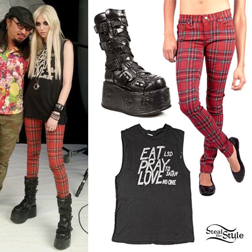 Taylor Momsen: Eat Pray Love Tee, Red Plaid Pants, Goth Boots