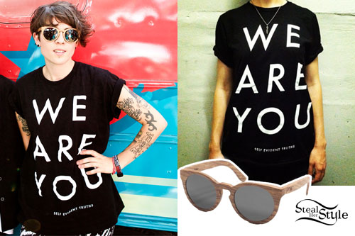 Tegan Quin: We Are You T-Shirt, Wooden Sunglasses