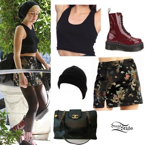 uważaj na całkiem miło ekskluzywny asortyment Miley Cyrus: Crop Top, Kimono Skirt | Steal Her Style