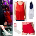 """LIGHTS: """"Timing Is Everything"""" Red Workout Outfit"""
