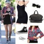 Miley Cyrus: Underwire Dress, Plaid Shirt