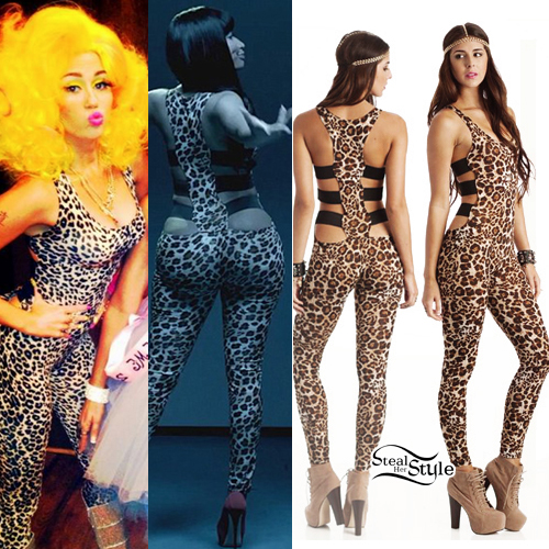 f7514b1777fe Miley Cyrus and Nicki Minaj  Leopard Jumpsuit