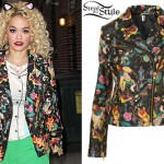 Rita Ora: Print Leather Jacket