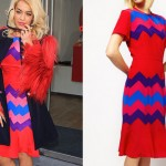 Rita Ora: Red Zig Zag Dress