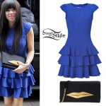 Carly Rae Jepsen: Blue Ruffle Dress