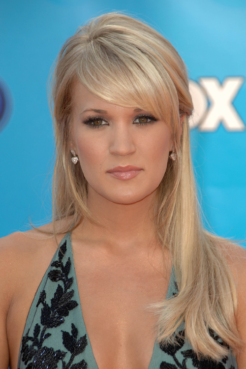 Carrie Underwood Straight Ash Blonde Half Up Half Down