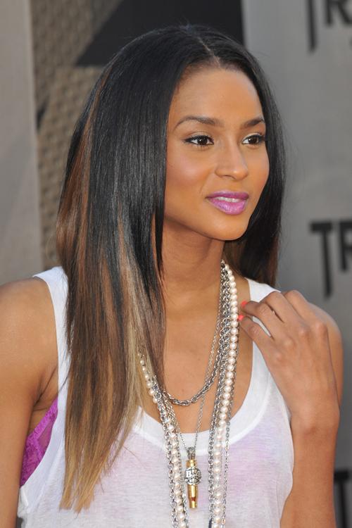 Ciara medium hairstyle ombre hair