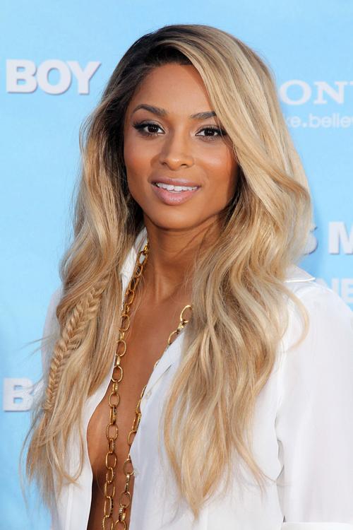 Ciara Wavy Golden Blonde Dark Roots, Mini Braids Hairstyle | Steal ...