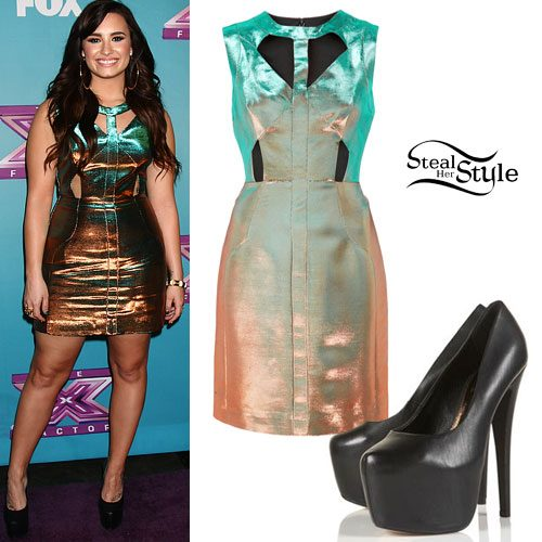 Demi Lovato: Metallic Cut Out Dress