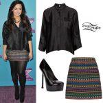 Demi Lovato: Black Shirt, Moroccan Skirt