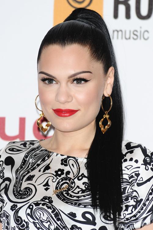 Jessie J Straight Black High Ponytail Hairstyle | Steal ...