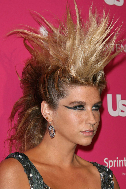 Kesha Straight Golden Blonde Faux Hawk Ombr 233 Hairstyle